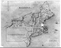 Map of NE United States drawn by James McNeill Whistler. Lowell, MA indicated with a star.
