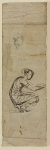 Studies of a man's head and a crouching woman, c. 1869-1872, drawing, Pencil on off-white laid paper, 17.7 x 5.4 cm, Hunterian Art Gallery, University of Glasgow