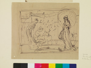 """Study for """"The Three Girls,"""" c.1869-1872, Black ink on buff grey-lined wove paper, 18.3 x 21.7 cm, Hunterian Art Gallery, University of Glasgow, Birnie Philip Bequest 1958"""