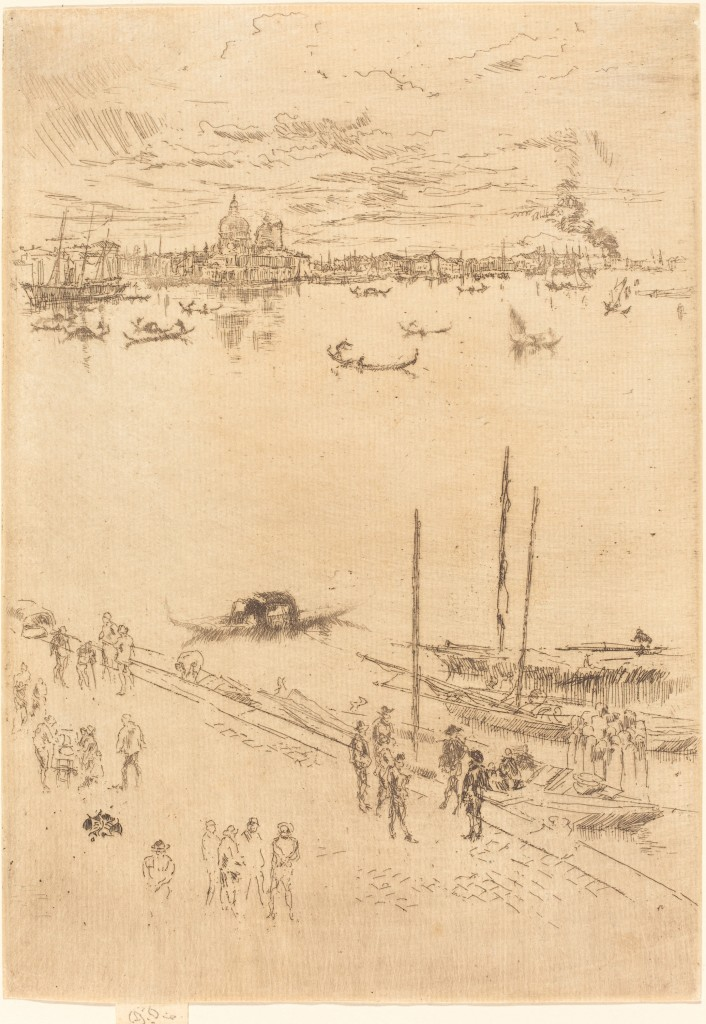 Whistler, James McNeill, Upright Venice, 1880, Etching, 25.5 x 18 cm, National Gallery of Art, Washington, Rosenwald Collection